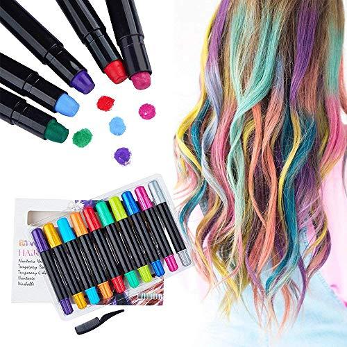 PuTwo Haarkreide Set in 10 Farben temporäre Haarfarbe ungiftige Haarfärbung für Kinder Haarkreide Haarkreidekamm auswaschbar Tönungen auswaschbar