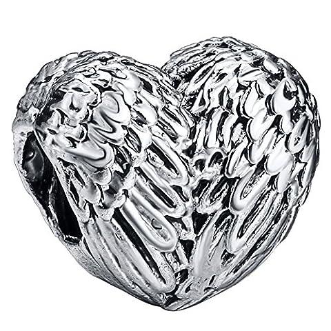 Waya Argent Charms plumes Ailes d'ange en forme de cœur Collier Pendentif Perles pour bracelets Bracelet chaîne serpent Bijoux
