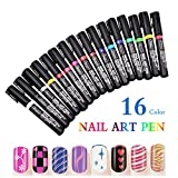 Nagellack Stift,16 Farben Nagel Kunst Feder Nageldesign Stift DIY für Nail Art Salon Beauty