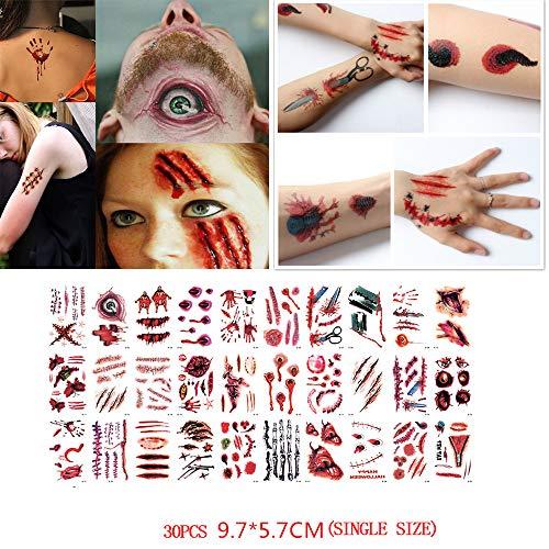 sserdicht Halloween Vampir temporäre Tattoos gefälschte Tattoos Aufkleber Zombie Schminke Scars Tattoos Gefälschte Narben Tattoos Wasserdicht Terror Wunde Make-up und Cosplay (Schwarz) ()