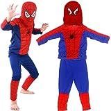 Miotlsy Disguise Superhéroe Spiderman Classic Disfraces Spiderman Gorra + pantalón + Saco - Traje Conjunto para Adultos Carna