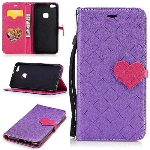 Cozy Hut Coque pour Huawei P10 Lite,Huawei P10 Lite pour Étui, PU Cuir Portefeuille Housse de Protection Wallet Cover Flip Case Anti Choc avec Stand Support pour Huawei P10 Lite,l'amour en