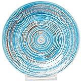 Kare Teller Swirl blau handgemacht Keramik Ø 19 cm Kuchenteller