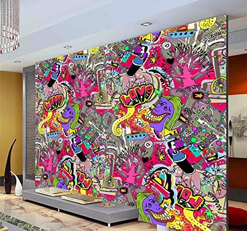 Fototapeten Graffiti Boys Urban Art Wallpaper 3D Fototapete Benutzerdefinierte Fototapete Street Art Room Decor Kind Schlafzimmer Flur Halloween Decor-350X250Cm,Wandbilder
