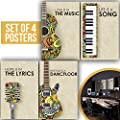 MUSIC POSTERS: Set of Four 11X17 Musician Gifts, Vintage Piano, Guitar and Sax instruments, Beige Prints of 1MM Thick, Perfect for Room Studio Decor and Musical Art! produced by Made With Tone - quick delivery from UK.