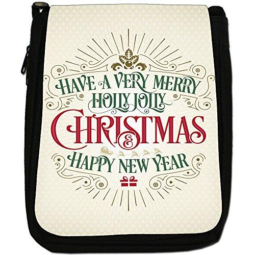Elegante Vintage auguri di Natale Medium Nero Borsa In Tela, taglia M Merry Holly Jolly Christmas