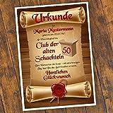 Geburtstagsurkunde 30 40 50 60 Club der alten Schachteln Bild Geschenk Urkunde Geburtstag personalisiert Fest