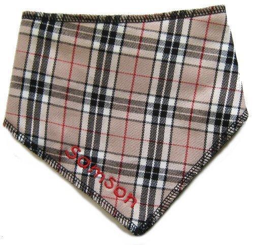 spoilt-rotten-pets-grrrrberry-beige-tartan-personalised-dog-bandana-medium-large-quality-designer-do