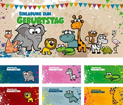 12 Briefumschläge Mit Unterschiedlichen Tieren) | Geburtstagseinladungen Einladungen  Geburtstag Party Kinder Jungen Mädchen