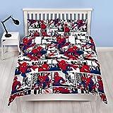 Spiderman Ultimate Metropolis Housse de couette réversible pour lit simple avec taie d'oreiller assortie, multicolore, Couette double