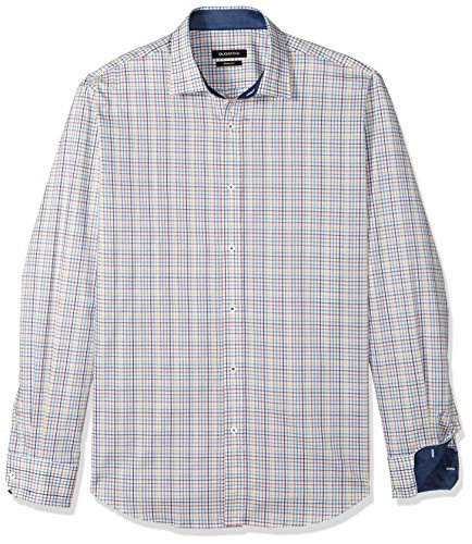 Bugatchi Herren Long Sleeve Fitted Madras Check Point Collar Shirt Button Down Hemd, Candy, X-Groß -