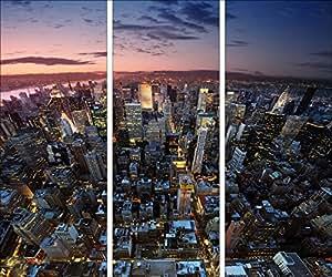 Pro-Art-Bilderpalette gla605c-dt Tableau triptyque sous verre Motif New York 30x80 cm