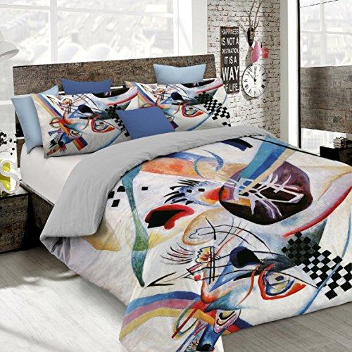Copripiumino 250 X 215.Italian Bed Linen Parure Copripiumino Con Stampa Digitale A Copertura Totale Sul Sacco E Sulle Federe 2 Posti 100 Cotone Multicolore Sd62