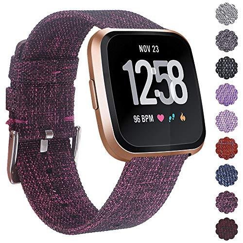 KIMILARArmbänder Kompatibel mit Fitbit Versa/Versa 2/Versa Lite Armband Stoff, Schnellspanner Nylon Ersatzband Armbänder mit Edelstahl Handgelenk Verschluss - Violett -