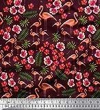 Soimoi Rot Poly Georgette Stoff Blätter, Blumen & Flamingo