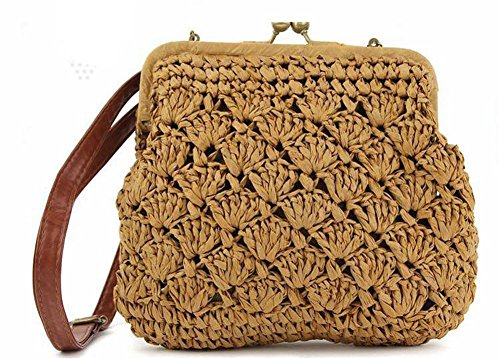 Shell Straw Crossbody Bag tessuto Solid Color Donne Maglieria Leisure Tote Summer Beach viaggio , light coffee