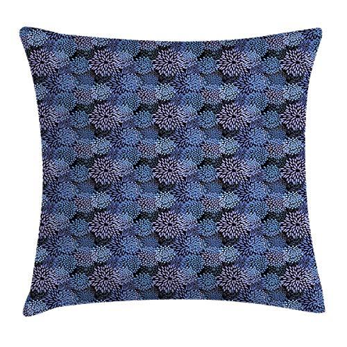 KLYDH Paint Throw Pillow Cushion Cover, Exotic Dahlia Flowers Inspirational Nature Beauty Flourish Artful Print, Decorative Square Accent Pillow Case, 18 X 18 inches, Lavander Violet Blue
