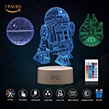 3D LED Star Wars Night Light, ZNZ Illusion Lamp Death Star + R2-D2 + Millennium Falcon, Three Pattern and 16 color Change Decor Lamp - Perfect Gifts for Kids and Star Wars Fans