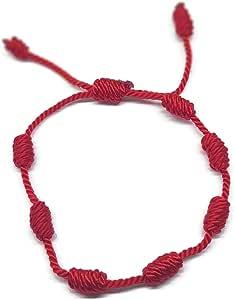MYSTIC JEWELS By Dalia, braccialetto Cabala, in cordoncino di filo rosso, con 7 nodi, unisex, regolabile, per la protezione contro il malocchio, portafortuna