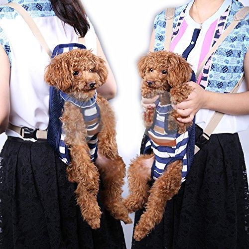 B-JOY vettore cane Borsa puppy Carrier bag frontale Piccolo zaino cane Doppia striscia spalla blu