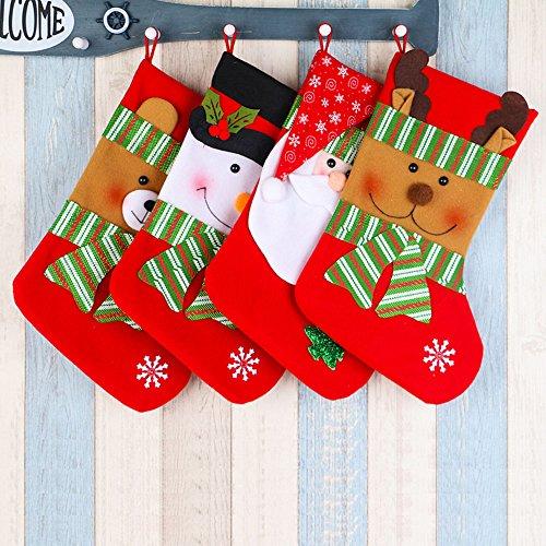 4Pcs Chaussettes Bas de Noël Sac Cadeau Suspendue Bonbons Motif de Bonhomme de Neige Père Noël et Renne et Ours