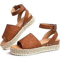 Platform Sandals for Womens Faux Leather Espadrilles Ladies Wedges Flatforms Peep Toe with Ankle Strap 5 CM Black Tan…