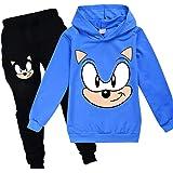 Sonic Sudadera con capucha y pantalones de ropa deportiva para niños Chándal de niñas lindo dibujos animados estampados el er