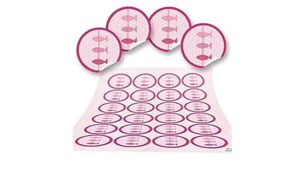 96/adesivi tondi 3/pesci rosa marittimo 4/cm Sticker etichette/ /Decorazione Comunione Battesimo Matrimonio Bambini Compleanno Regalo Adesivo Decorazione Ragazza fai da te