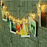 Cisixin LED Foto Clips Lichterketten - Foto Clip 20 LED Fee Schnur Licht Batteriebetrieb für Pretty Foto Artwork Hanging Bilder Zimmer Christmas