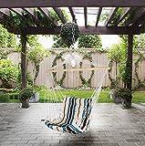 Holifine Hamac Ondulé Chaise Fauteuil Suspendu Terrasse Balcon de Jardin Soleil Balançoire Siesta en Coton et Polyester Charge Max de 100KG - Blanc