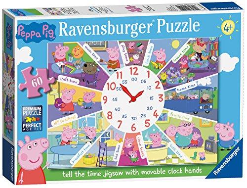 Ravensburger Peppa Pig - Puzzle DE 60 Piezas, Diseño de Reloj de la Hora
