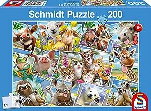 Schmidt Spiele Puzzle 56294Niño Rompecabezas, Animales ische Selfies, 200Piezas