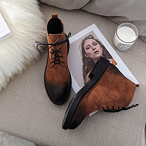 Autumn And Winter Round Round Color Low Cylinder Thick Flat Front Flat Tie Female Boots Caramel color