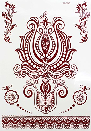 HENNA MANDALA MARRON Tatouages temporaires au henné Henna pour le corps w-338