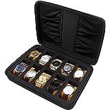 Scatola per orologi con 10 alloggiamenti con spugna, valigetta rigida, con tasca per cinturino per orologio e accessori, con