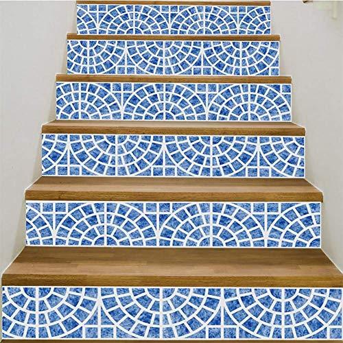 MTX Ltd Western Style Kreative Wanddekoration 3D DIY Treppenhaus Aufkleber Blau Kleine Fliese Nähmuster Kreative Wasserdicht Selbstklebende Keramik Fliesen Wandbild 39,3