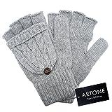 Artone Warm Stricken Halbfinger Thermo Isolierung Radfahren Winter Handschuhe mit Fäustlinge Klappe Grau