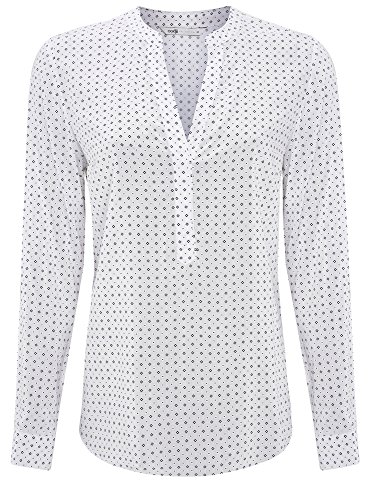 oodji Collection Femme Blouse en Viscose Imprimée Blanc (1075G)