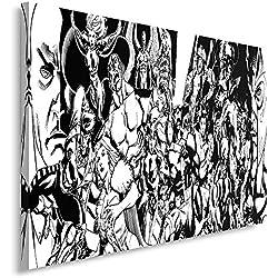 Feeby Frames, Cuadro en lienzo, Cuadro impresión, Cuadro decoración, Canvas 30x40 cm, MODERNO, CÓMIC, SUPERHÉROES, COLLAGE, NEGRO Y BLANCO