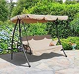 Balancelle balançoire fauteuil lit de jardin convertible en acier 2 place charge max. 340kg crème neuf92