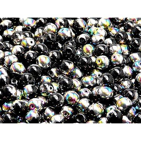 50pc Ceco tondo perle di vetro schiacciate, diametro 6 mm, Jet Black Half Vitrail