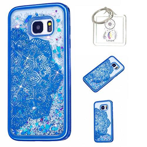 Hülle Galaxy S7 Edge Hülle Transparent Hardcase,3D Galvanotechnik TPU Kreative Liquid Bling Hülle Case Für Samsung Galaxy S7 Edge,Dynamisch Kristall Handytasche + Schlüsselanhänger (A) (1)