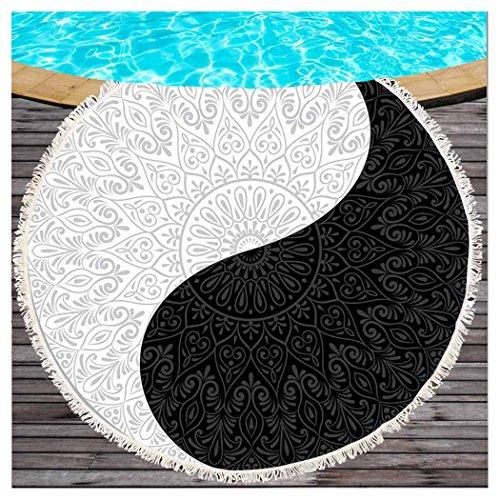 Redondo Mandala Flores Impresión Redonda playa Topo con borlas Negro y Blanco Yinyang redondas Toalla de playa Zen estilo indio–Esterilla de yoga gruesos playa bufanda envolver circular playa manta 59*59in multicolor