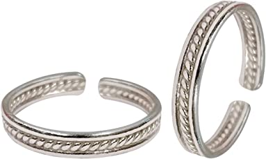 Peora Pure 925 Sterling Silver Chaandi Traditional Simple Toe Rings for Women Girls, Adjustable Size