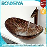 AllureHome barco de oro lavabo Arte de vidrio / vidrio templado fregadero cuarto de baño contemporáneo conjunto (L560mm * * H175mm W370mm) , (Grifo del + Fregadero ) Kit