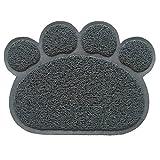 Romote Alfombrilla para gato para arena y comida, diseño de huella de pata antideslizante, fácil de limpiar, diseño elegante y color