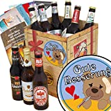 Gute Besserung | Bier Geschenk Box | DDR Bier Box | Gute Besserung | Bierset Geschenk | GRATIS Bierbewertungsbogen, 6 Geschenk Karten + Umschläge, 3 Urkunden