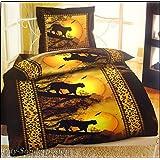 4-Teilig Microfaser Bettwäsche Abendstimmung Leopard mit Reißverschluss 2x 155x220 Bettbezug + 2x 80x80 Kissenbezug