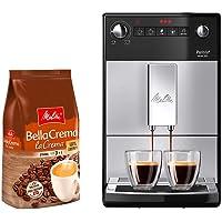 Melitta Purista F 230-101 Kaffeevollautomat silber/schwarz + Melitta BellaCrema LaCrema Ganze Kaffeebohnen
