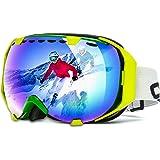 Audew Skibrille Snowboard Brille Schneebrille Skifahren Schutzbrille Schnee Sport Doppel-Objektiv UV-Schutz Anti-Nebel Skibrille Weitwinkel Für Damen Und Herren Jungen Und Mädchen